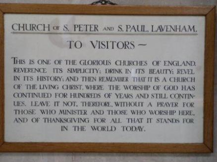 St Peter and St Paul, Lavenham, request for prayer