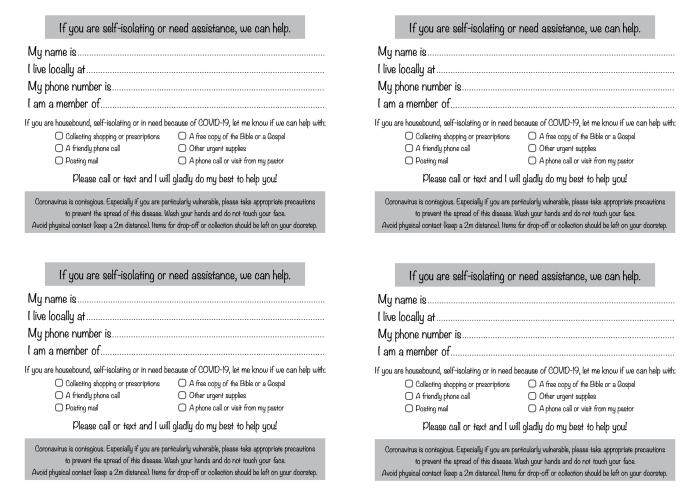Coronavirus help sheet front